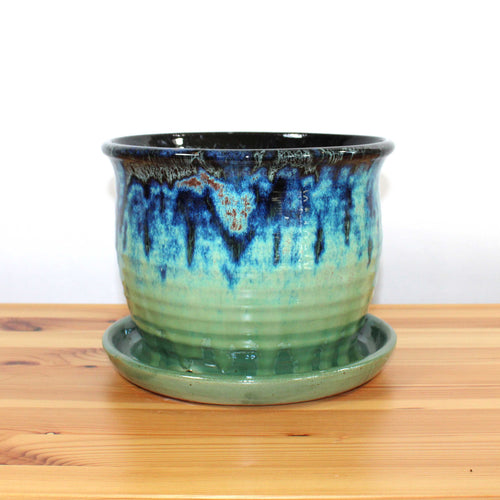 Green and Blue 8 inch Planter