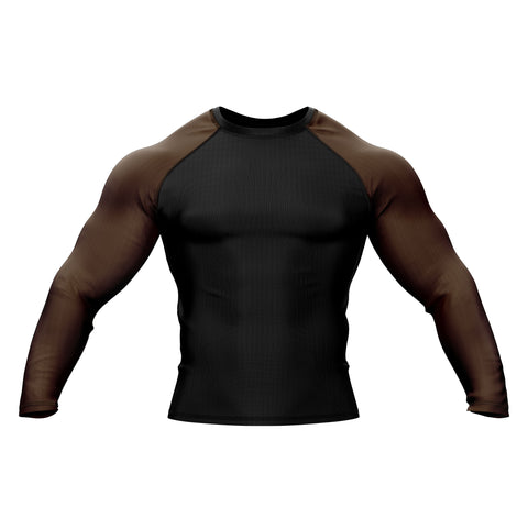 Black with Brown Sleeve Rank Rashguard