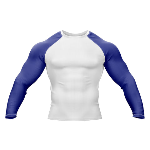White with Blue Sleeve Rank Rashguard