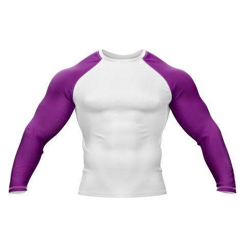 White with Purple Sleeve Rank Rashguard
