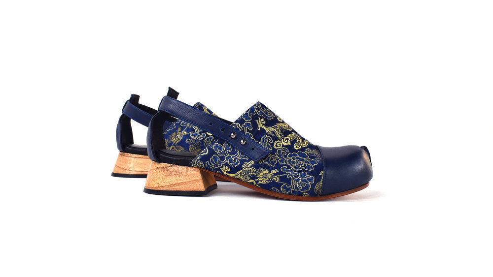 The Betty Sandal - Blue Brocade