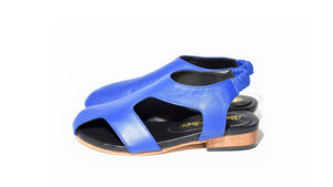 Asymmetric bright blue leather sandal, elastic sling back, stacked leather heel