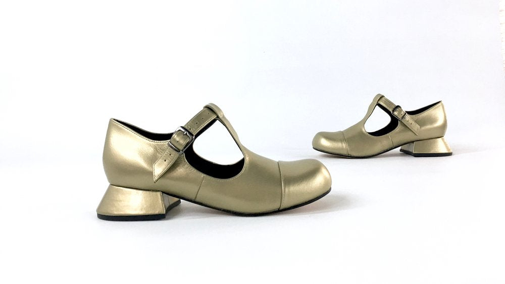 matt metallic gold leather mary jane or t bar style shoe
