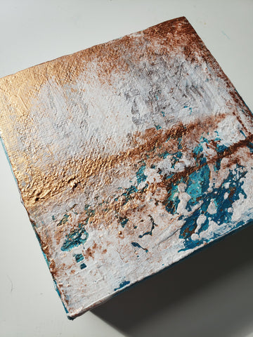 small copper abstract painting by kate shore