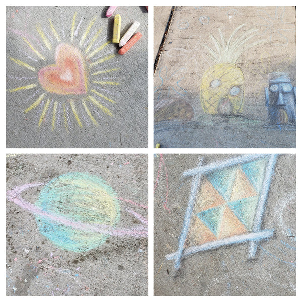 pretty chalk drawings during quarantine