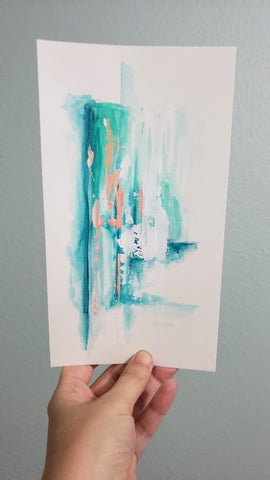 teal and pink abstract painting