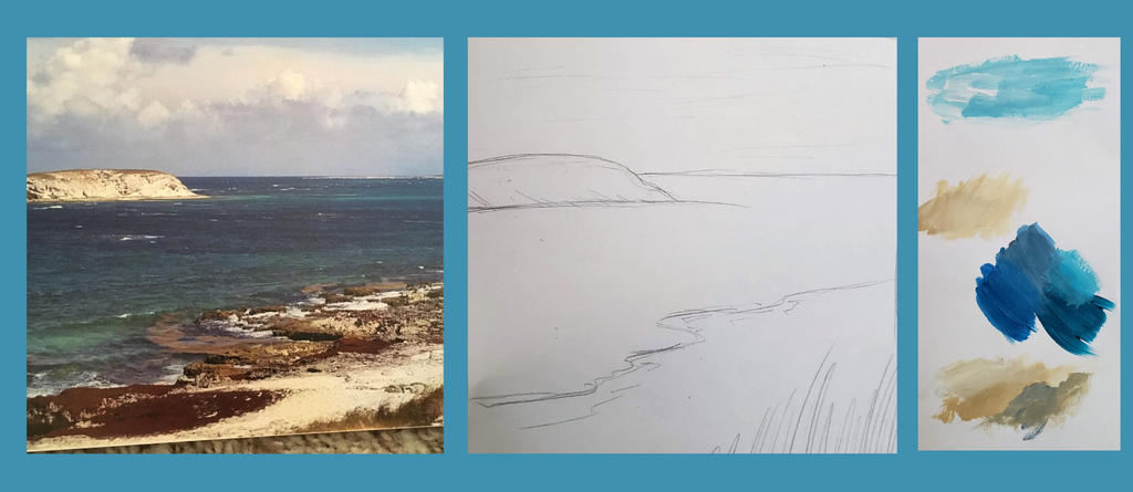 custom beach painting process by kate shore art