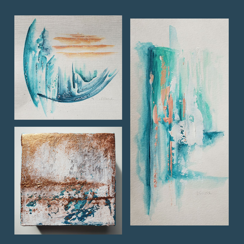 teal abstract paintings