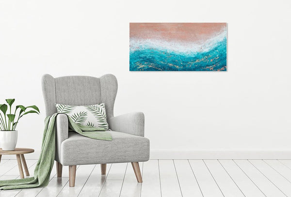 pink and teal coastal abstract painting by kate shore - heat wave