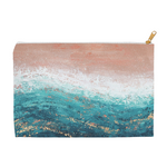 "Pink and Teal Pencil Case / Zipper Pouch - ""Heat Wave"" Print"