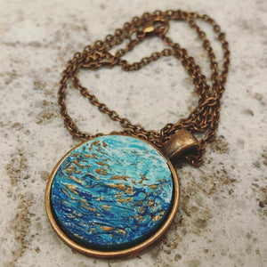 Teal and Copper Round Pendant Necklace | Only 3 Available