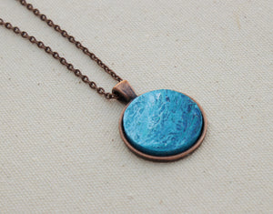ocean necklace with blue round pendant - copper