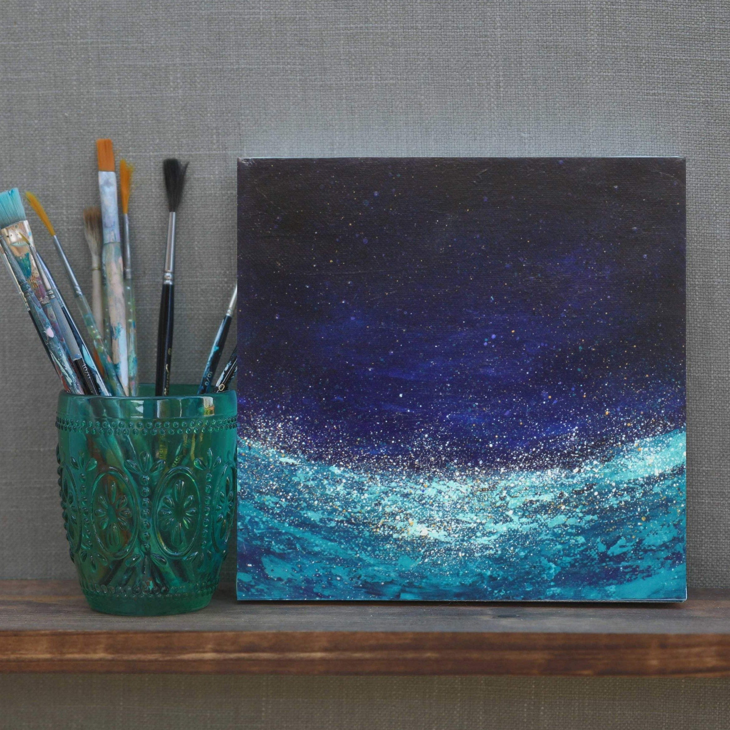 abstract painting of ocean at night - blue and teal small painting