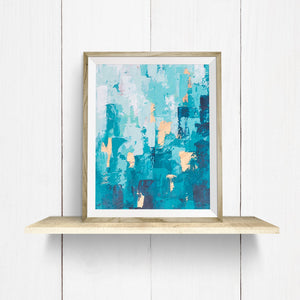 "Teal Abstract Art Print | ""Worth the Climb"""