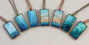 Ocean Wave Necklace - Blue Pendant