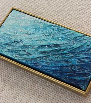 Ocean Wave Necklace - Blue and bronze Pendant