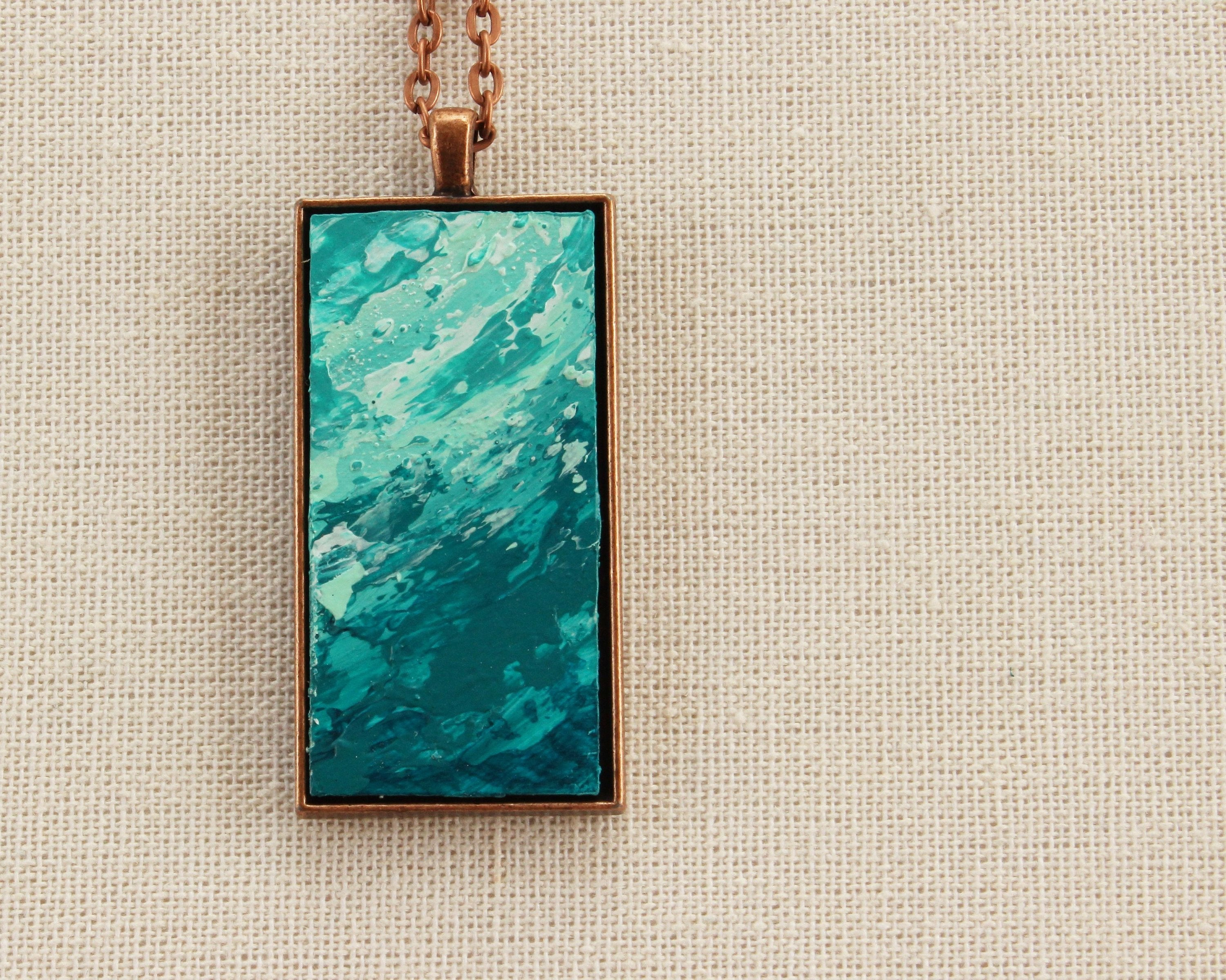 "Necklace | ""Sea Foam"" Hand Painted Necklace"