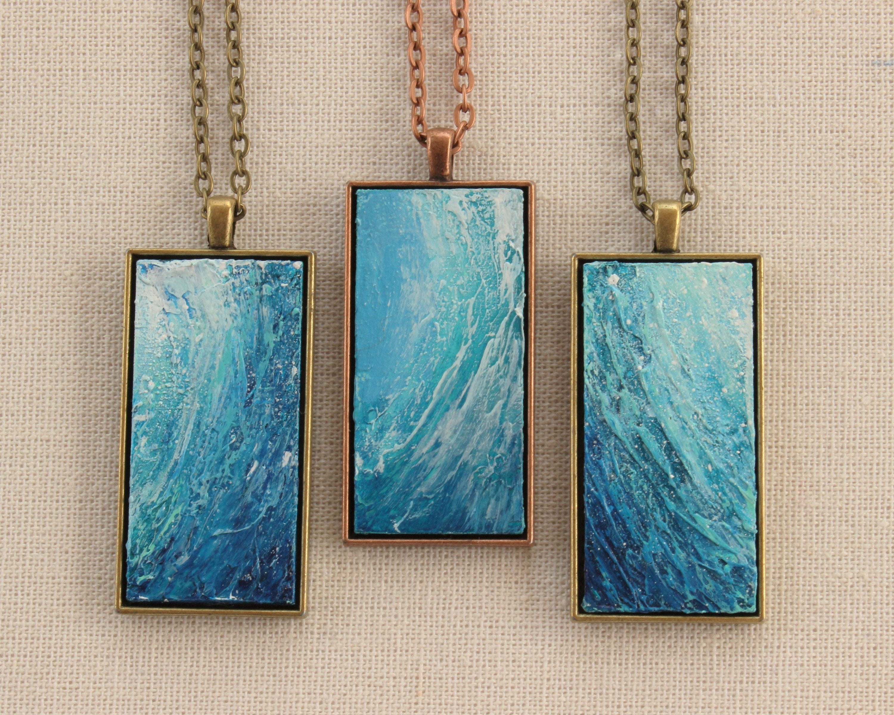 Ocean Wave Necklace - Blue and copper Pendant
