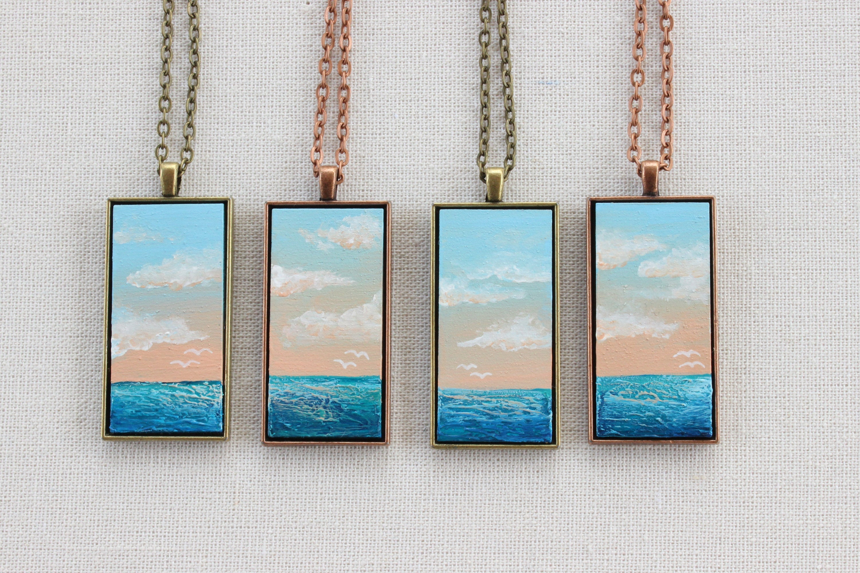 Beach Jewelry - Hand-Painted Pendant Necklace