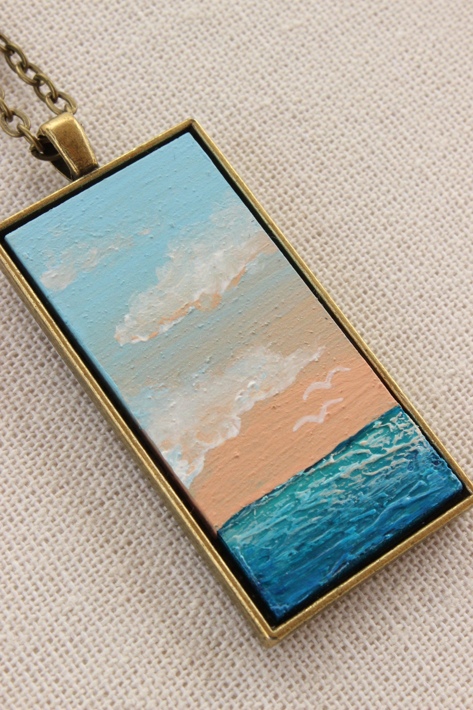 Beach Jewelry - Hand-Painted Pendant Necklace Beach Sunrise