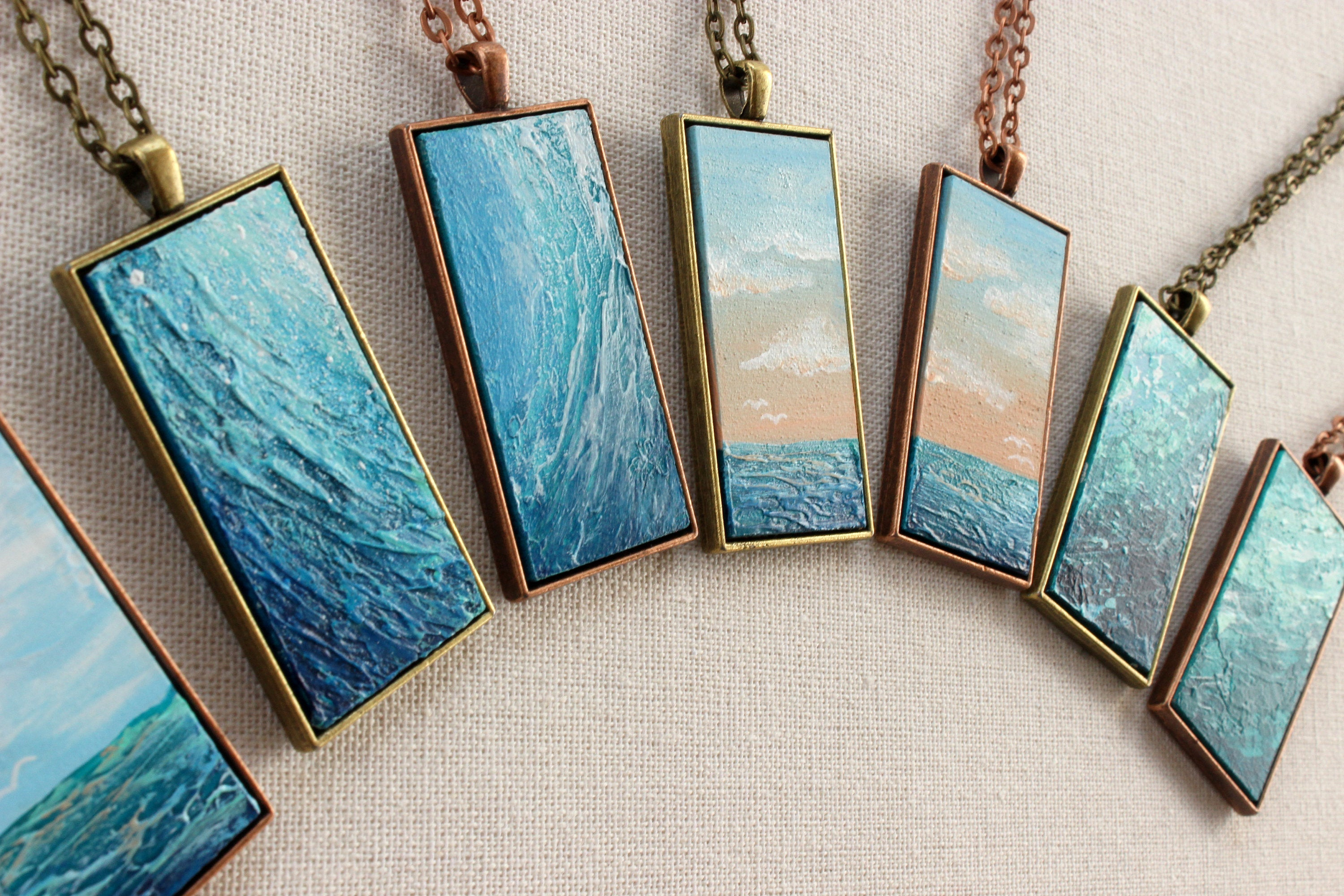 Teal Abstract Art Necklace - Beach Pendants