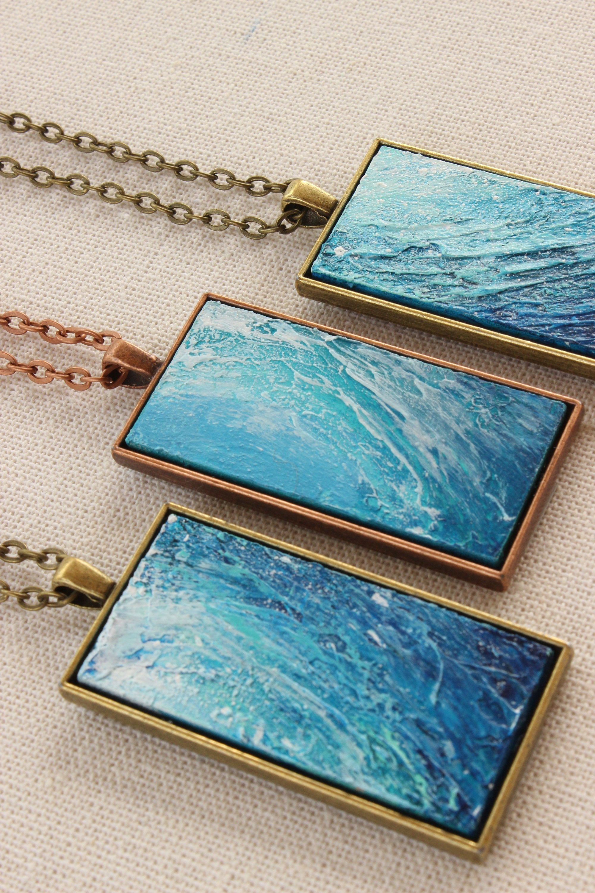 "Necklace | ""Inside the Wave"" Hand Painted Necklace"