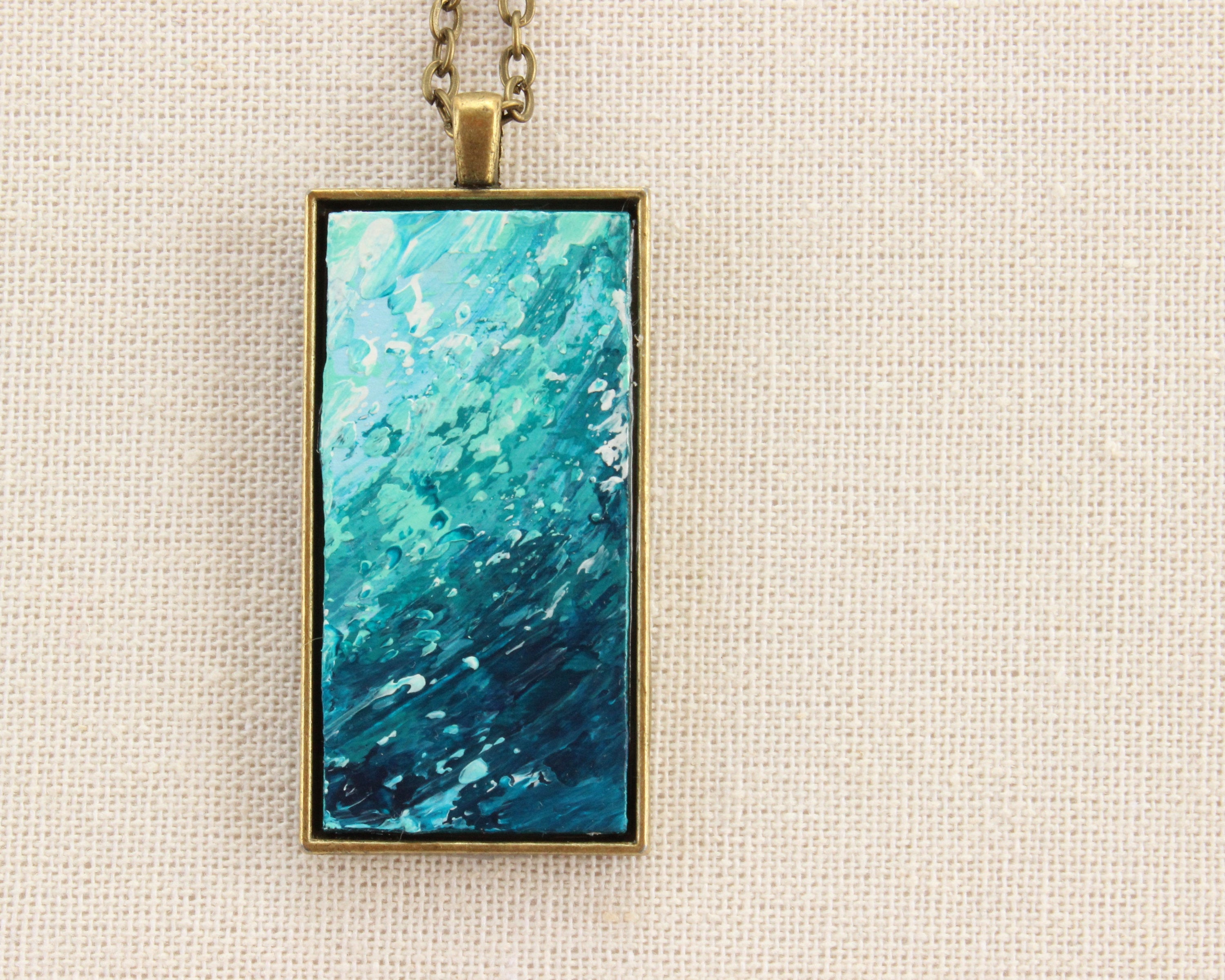 Teal Abstract Art Necklace - Sea Foam Pendant - Bronze