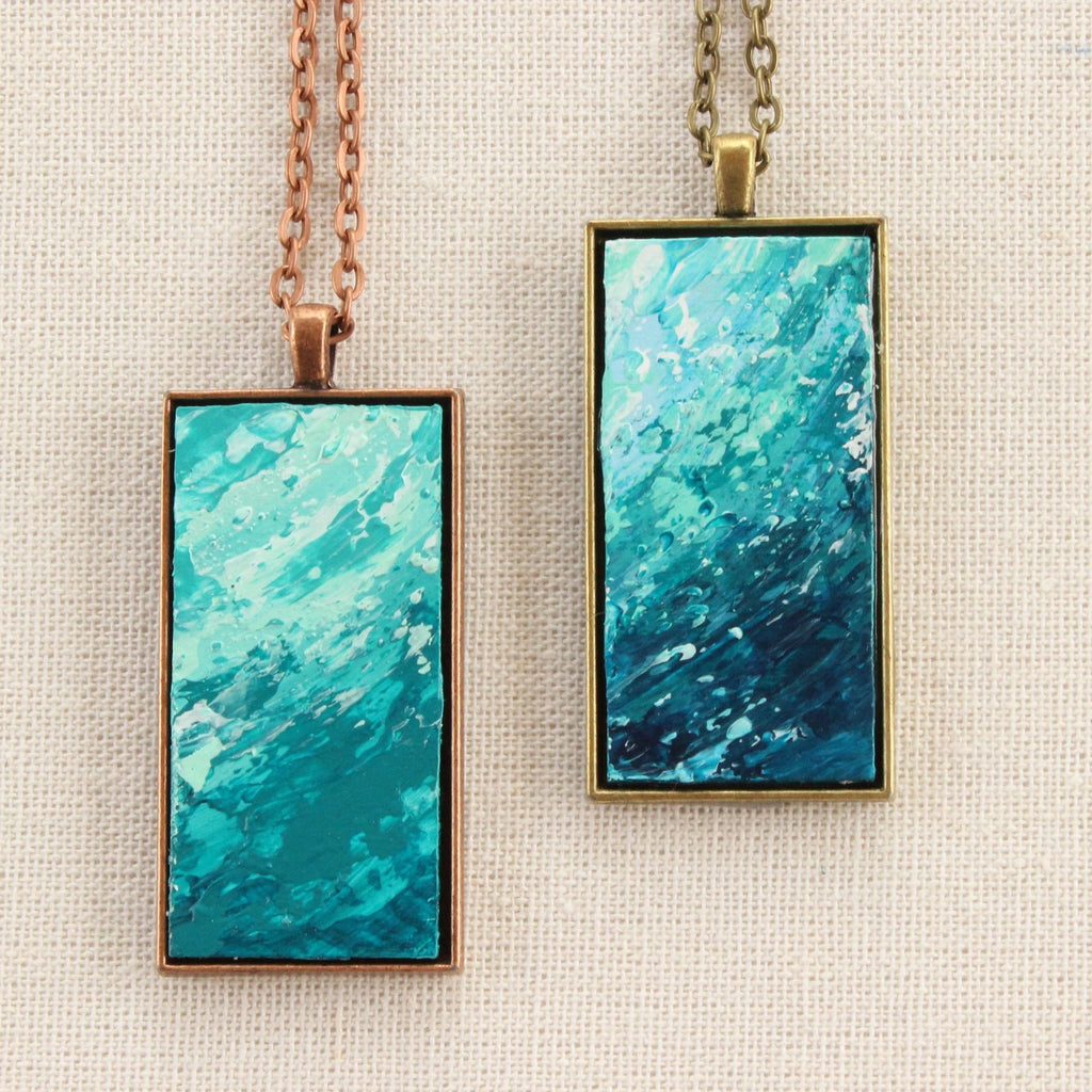 """Sea Foam"" Hand Painted Necklace"