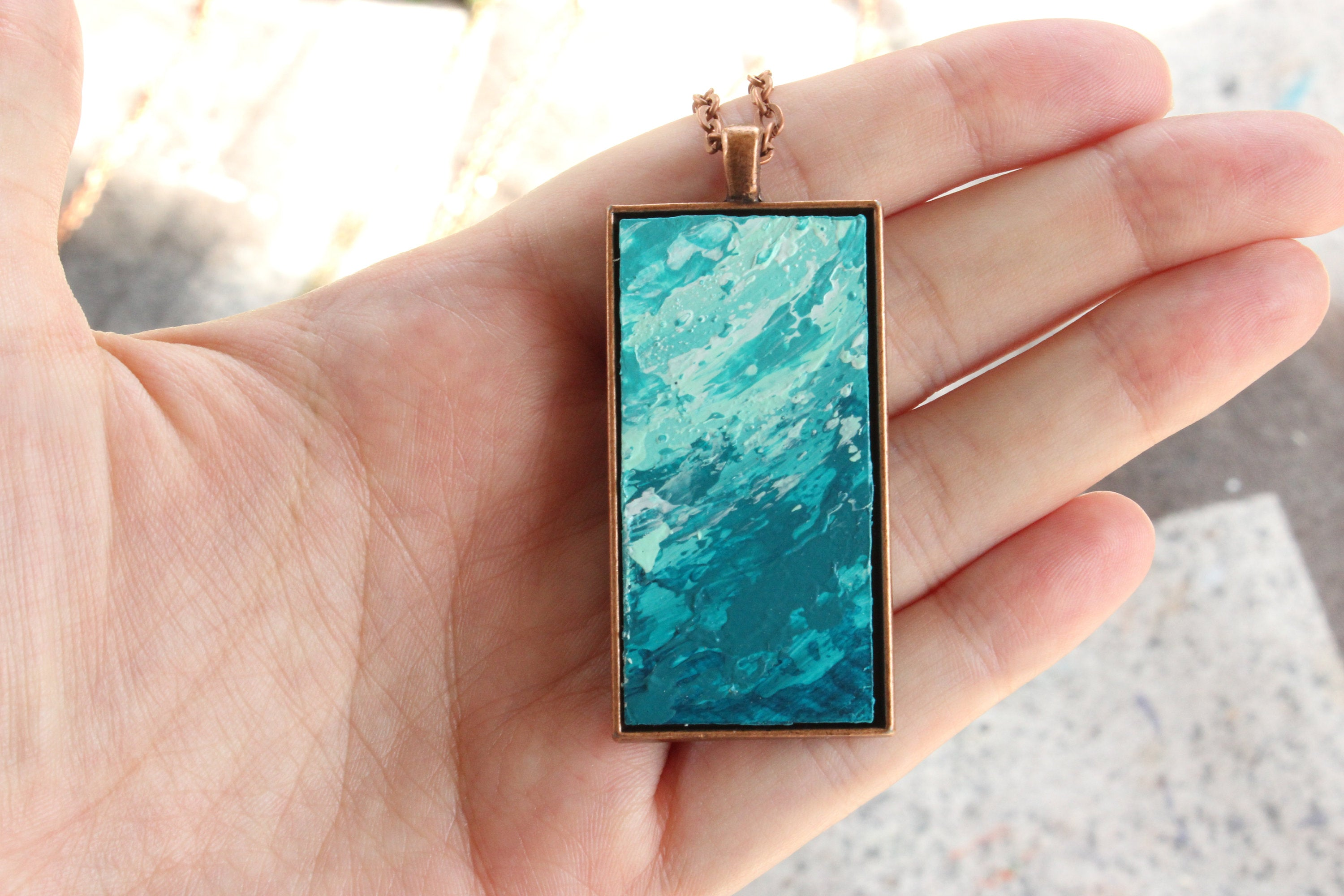 Teal Abstract Art Necklace - Sea Foam Pendant