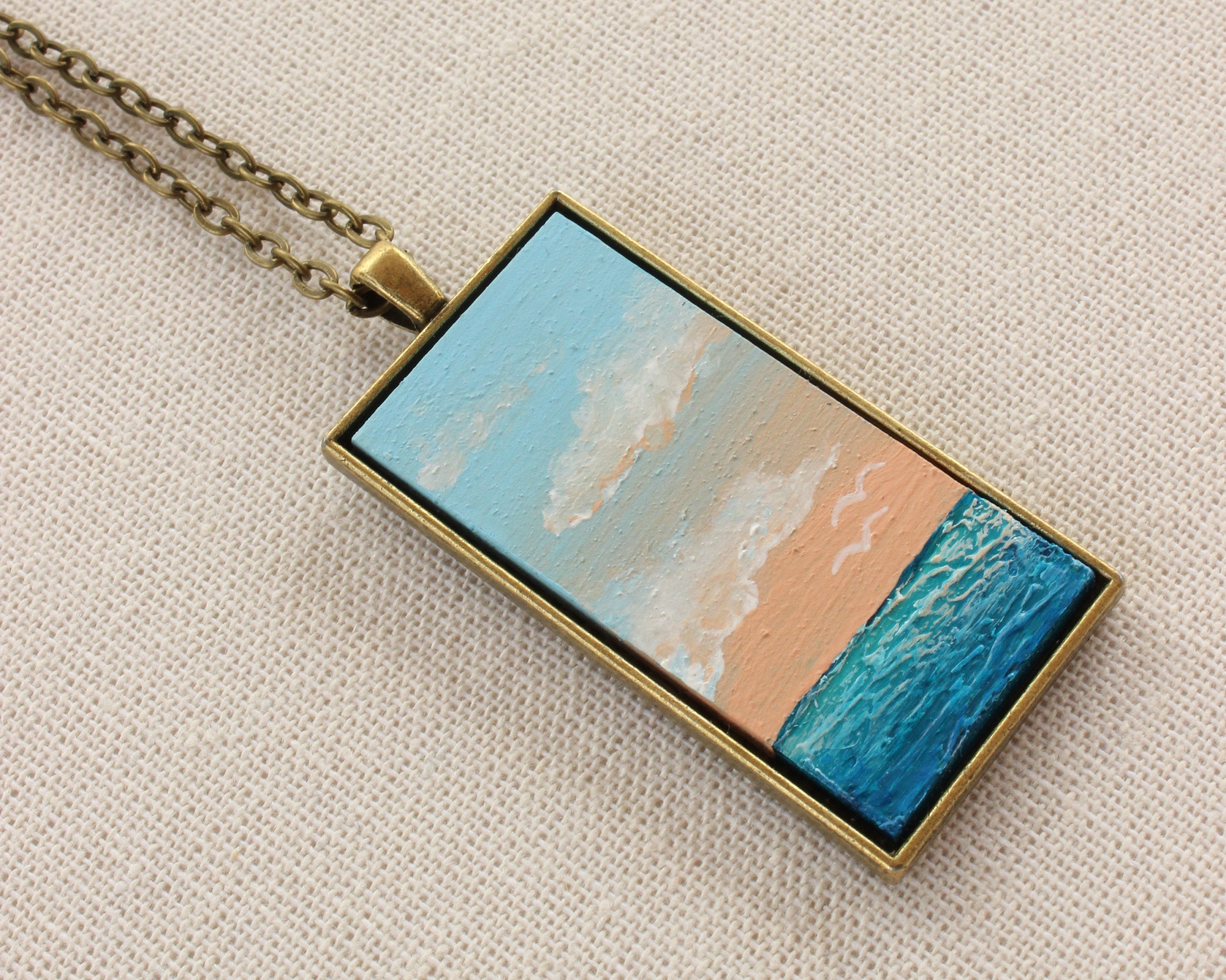 Beach Jewelry - Hand-Painted Pendant Necklace Ocean Sunrise