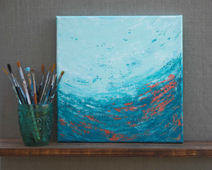 Teal and Copper Abstract Wall Art