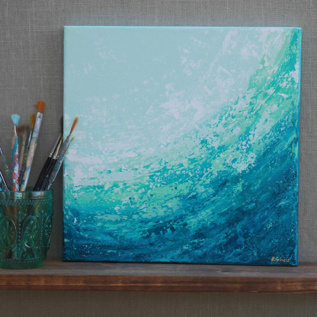 Teal Abstract Wave Painting on Square Canvas
