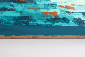 Teal and Copper Abstract Modern Wall Art Painting on Canvas