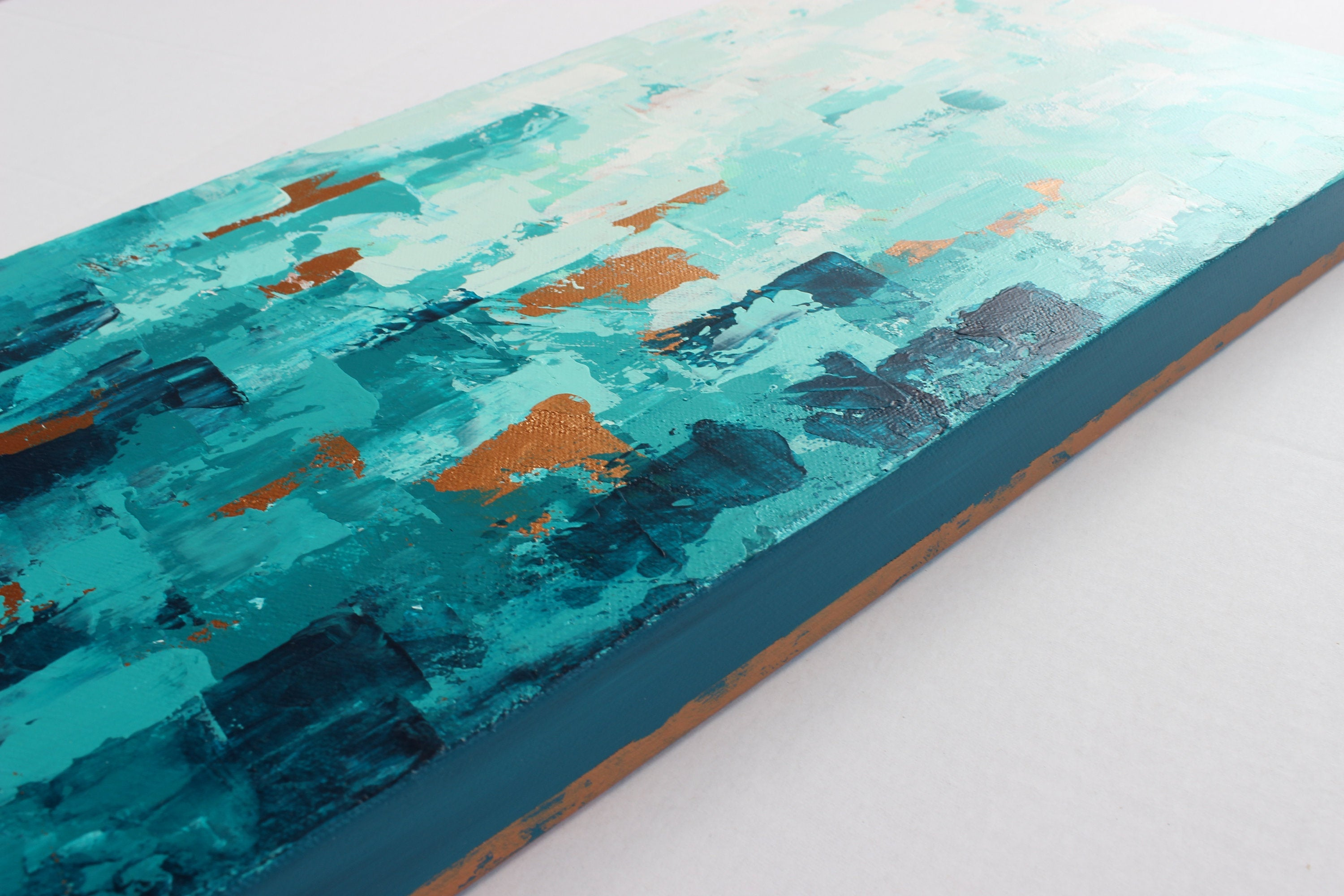 "Teal and Copper Abstract Modern Wall Art | ""Worth the Climb"" 