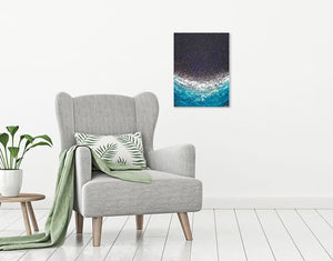 dark blue abstract wall art by Kate shore