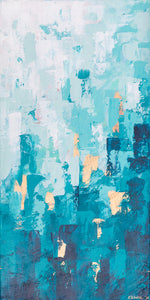 Teal and Copper Abstract Modern Wall Art