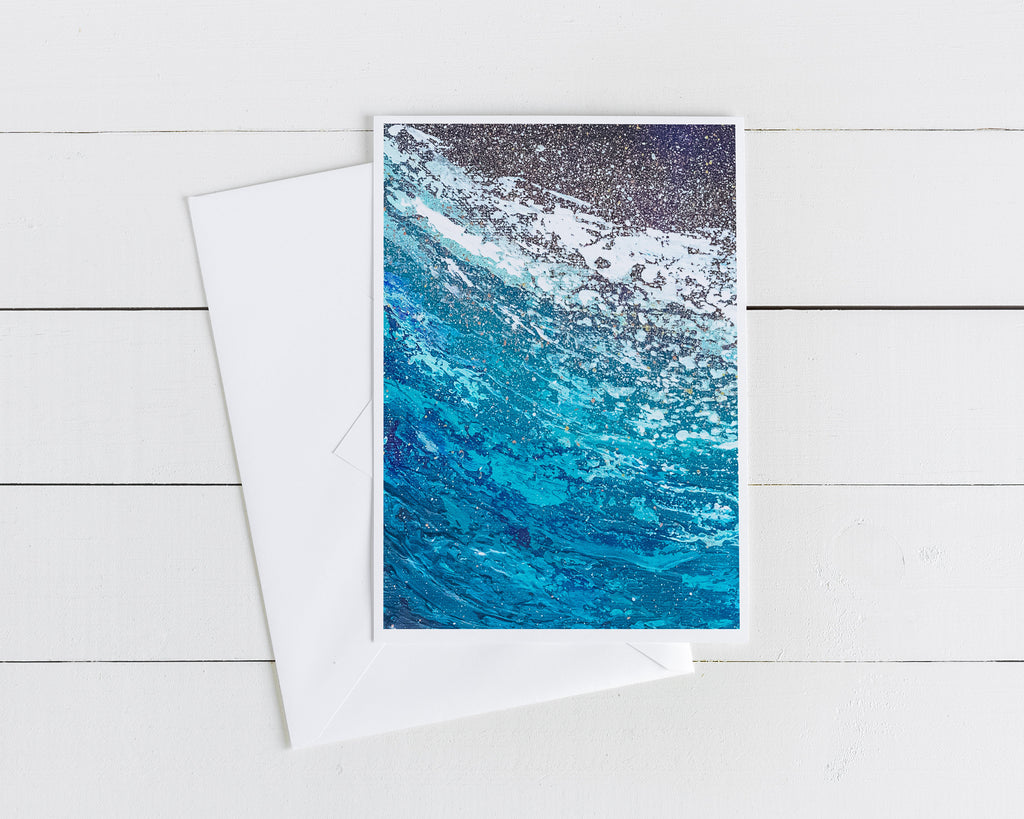 Blank Note Card with Blue Artwork