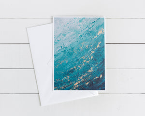 "Blank Note Card | ""Ripple"" Ocean Painting"