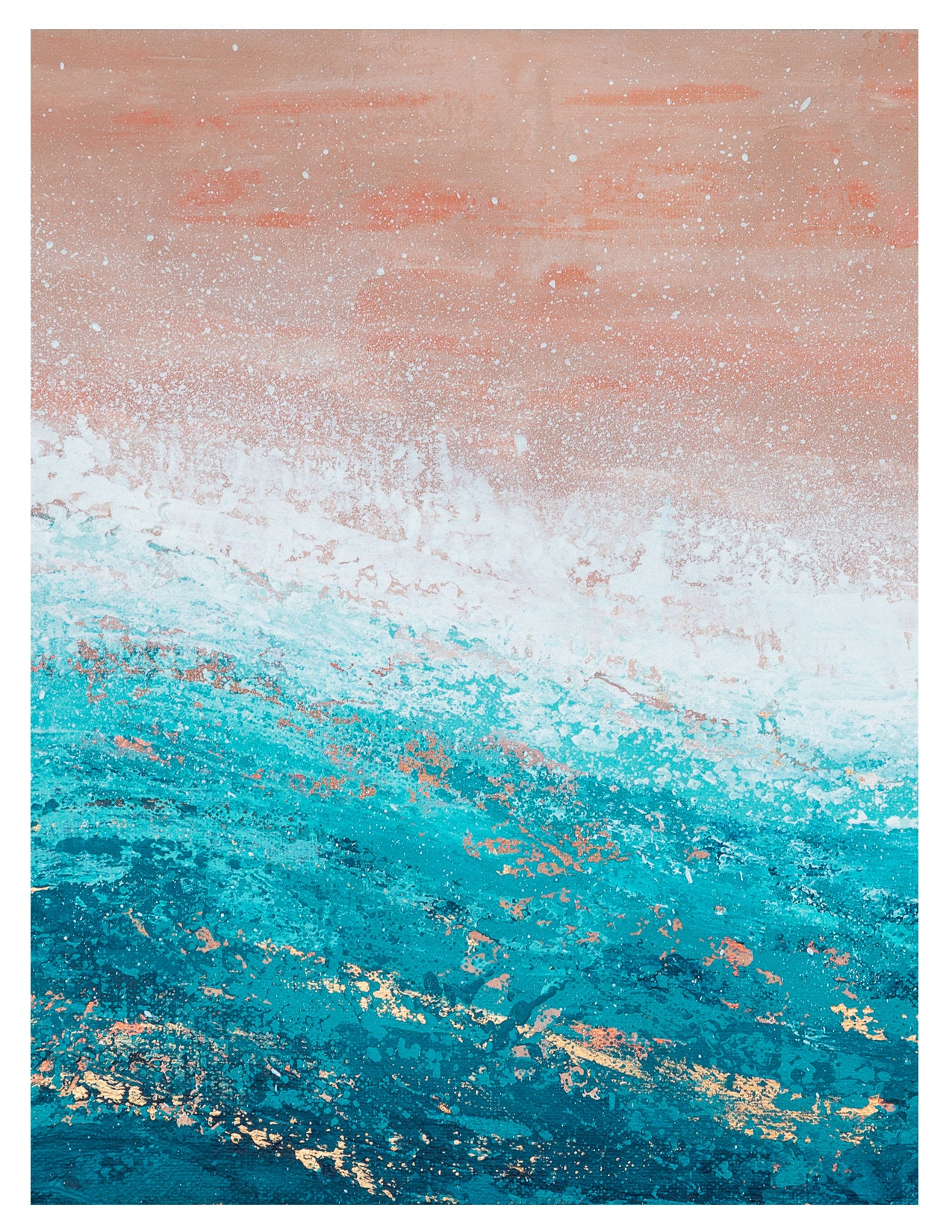Blank Note Card - Pink and Teal Beach Art