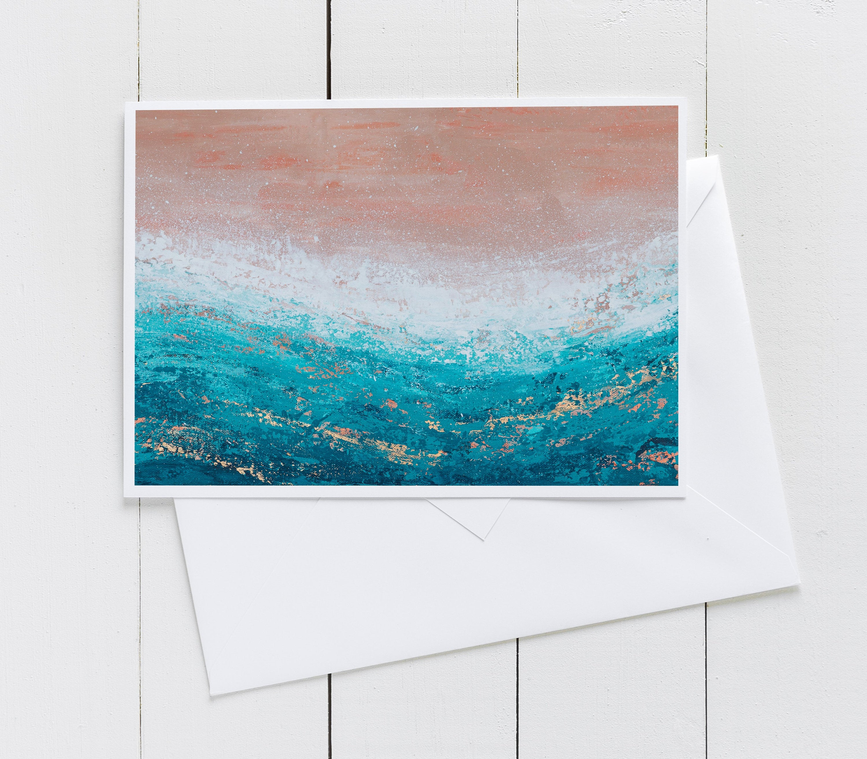 Blank Greeting Card - Pink and Teal Beach Art