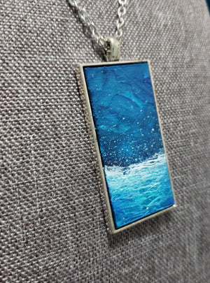 Blue Ocean Hand-Painted Necklace - Only 1 Available