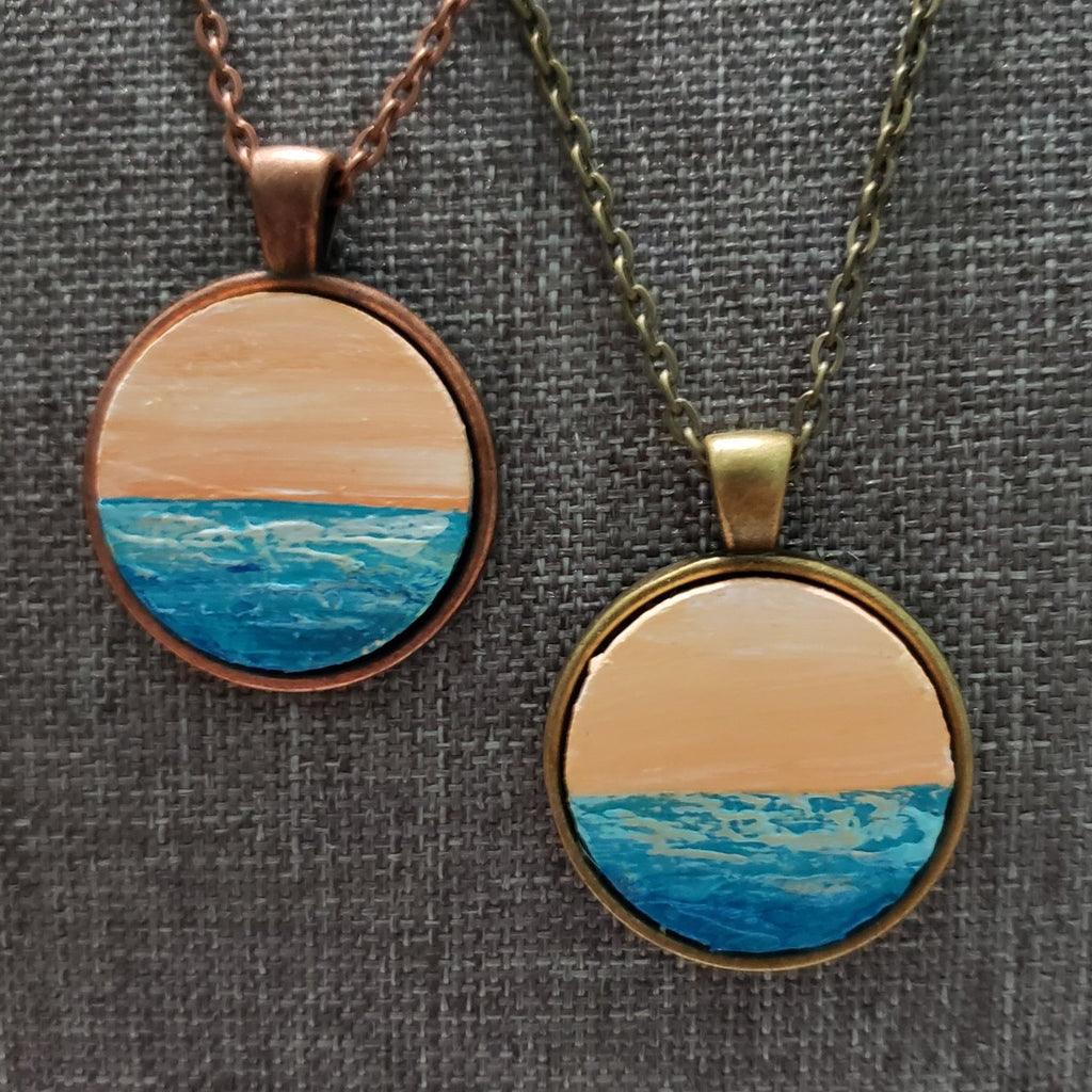 Beach Necklace - Ocean with Pink Sky