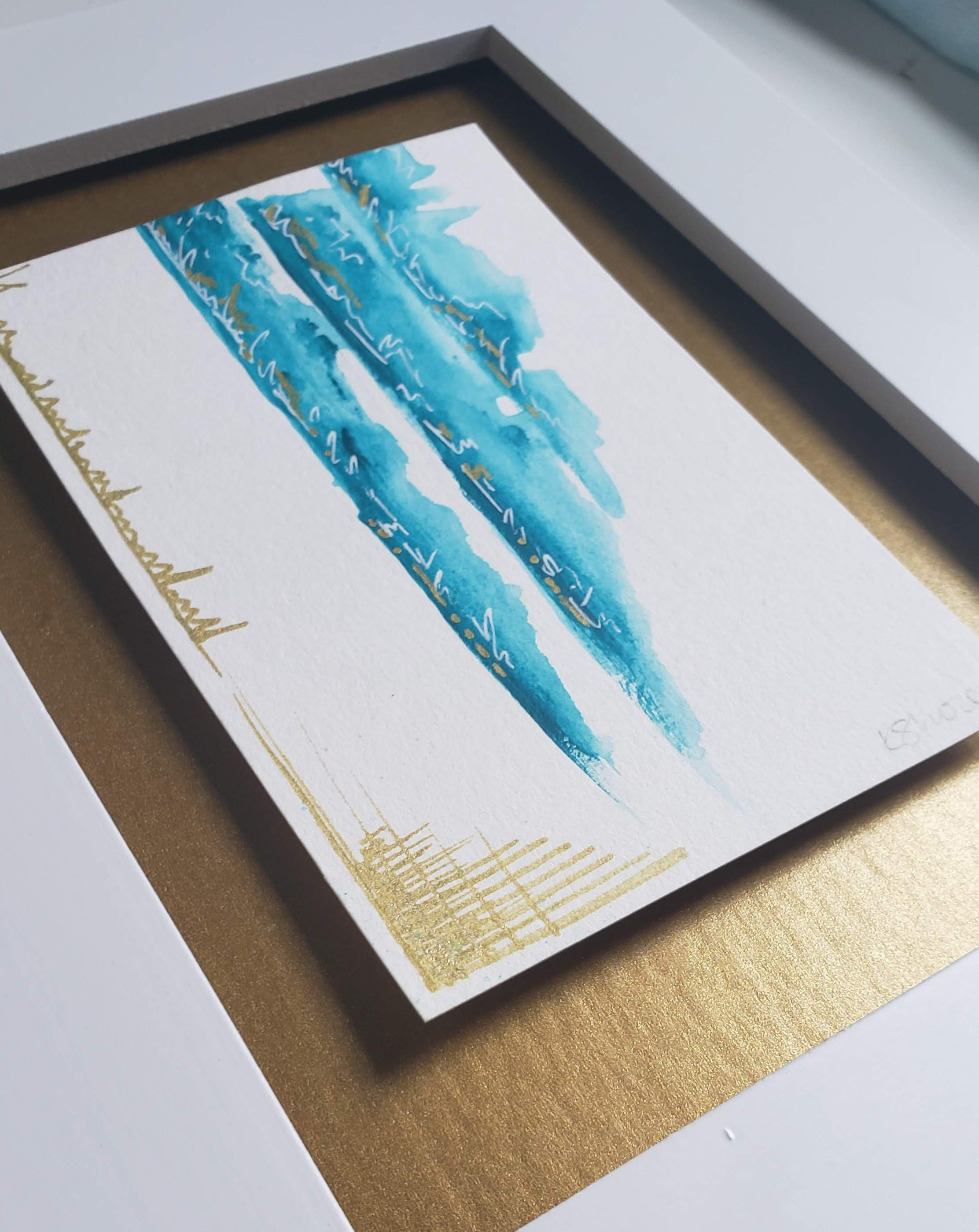 Framed Mini Teal Abstract Painting on Paper | 100 Day Project