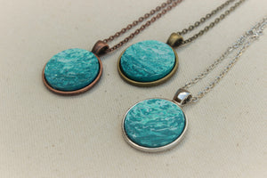 Teal Round Pendant Necklace - Beach Gift Jewelry