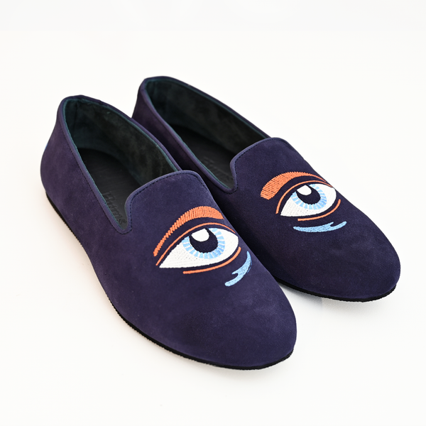 Hums Blue Eye Blink Loafers for woman