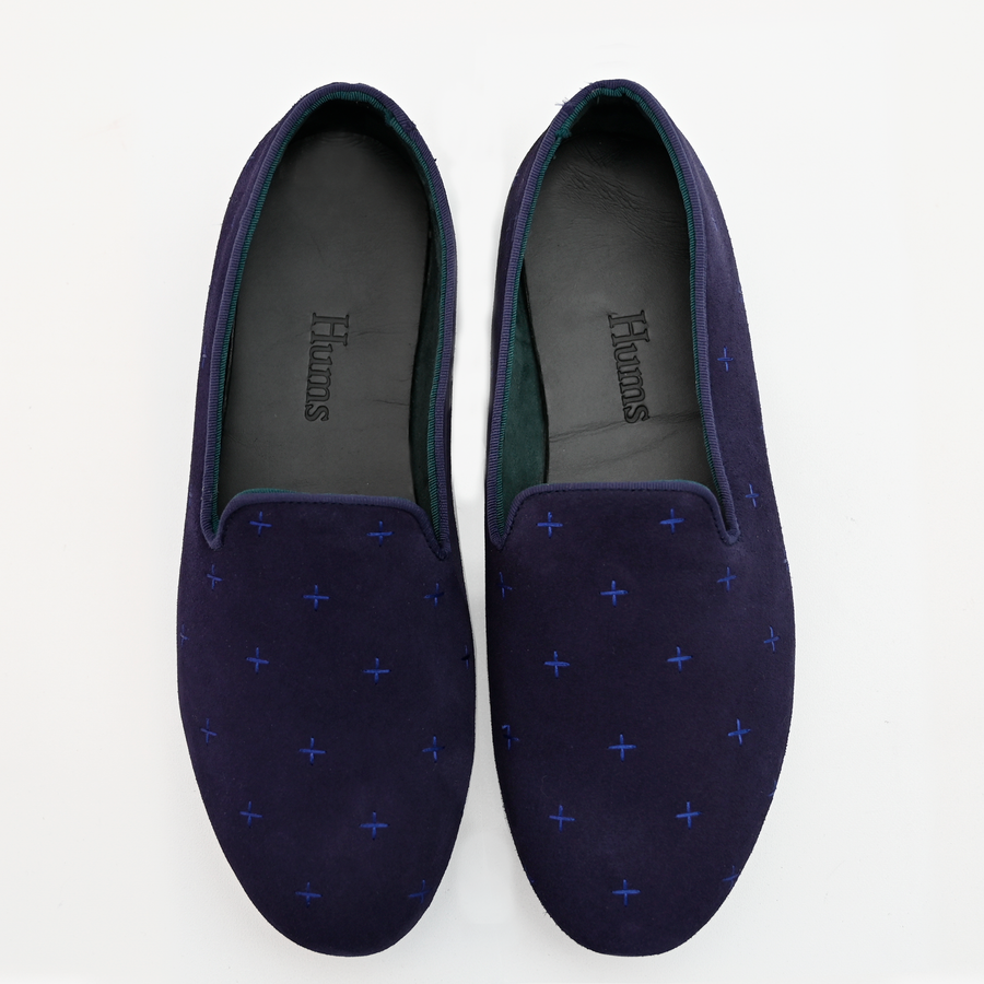Hums Slippers - Dark Blue Cross Loafers