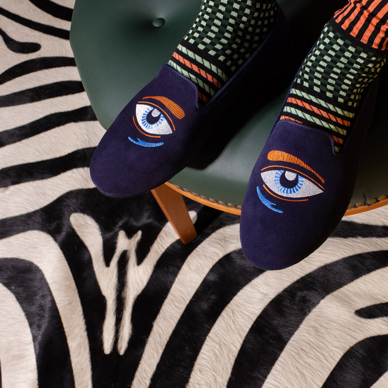 Hums Blue Eye Talisman Loafers for men