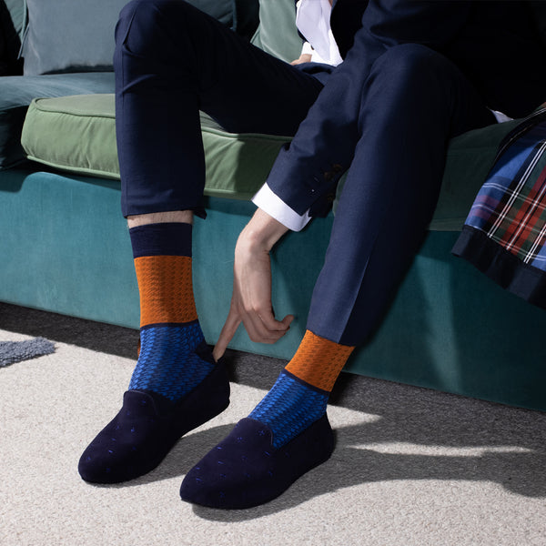 Hums Dark Blue Cross Loafers