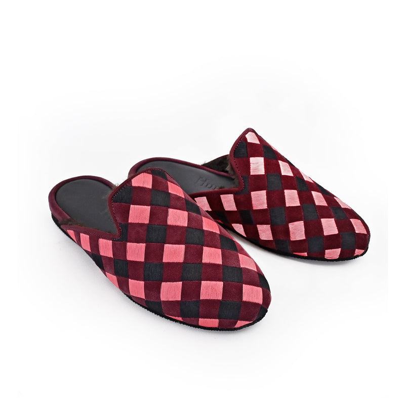 Hums Pink Check Open Loafers