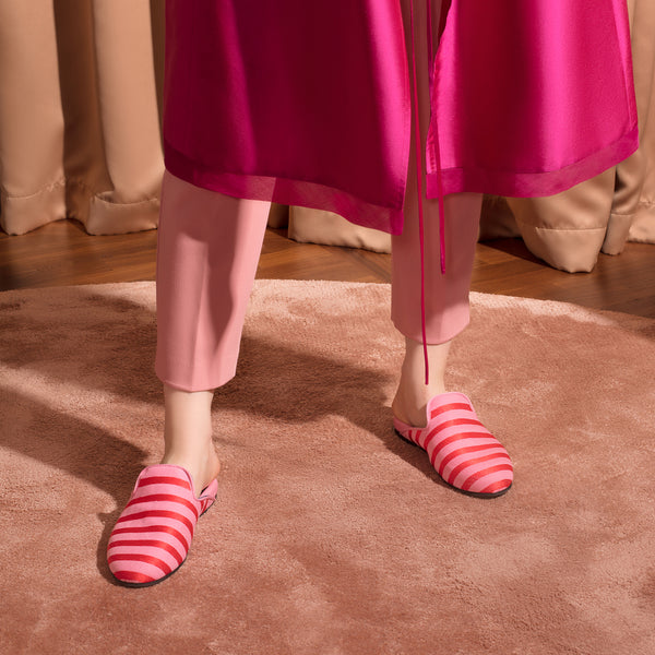 Hums Candy Stripe Pink Open Loafers